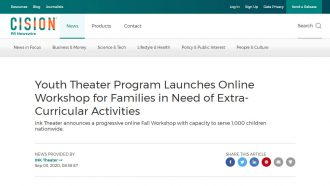 Youth Theater Program Launches Online Workshop for Families in...