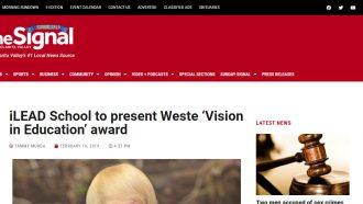 iLEAD Schools to Present Weste 'Vision in Education' Award