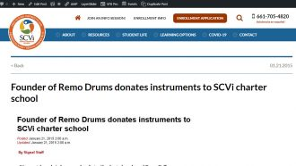 Founder of Remo Drums donates instruments to SCVi charter...