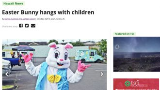 Easter Bunny hangs with children