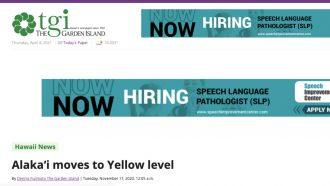 Alaka'i moves to Yellow level